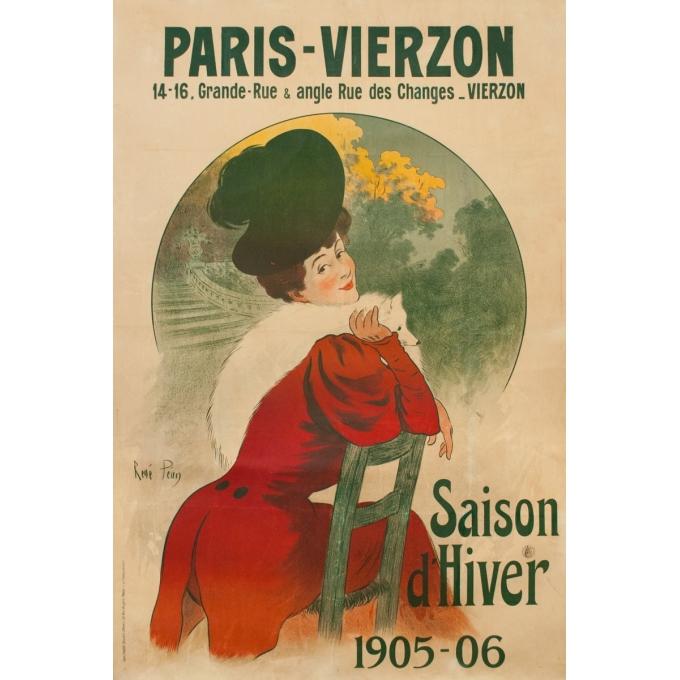 Vintage advertising poster - René Péan - 1906 - Paris Vierzon 1905-1906 - 61.8 by 41.3 inches