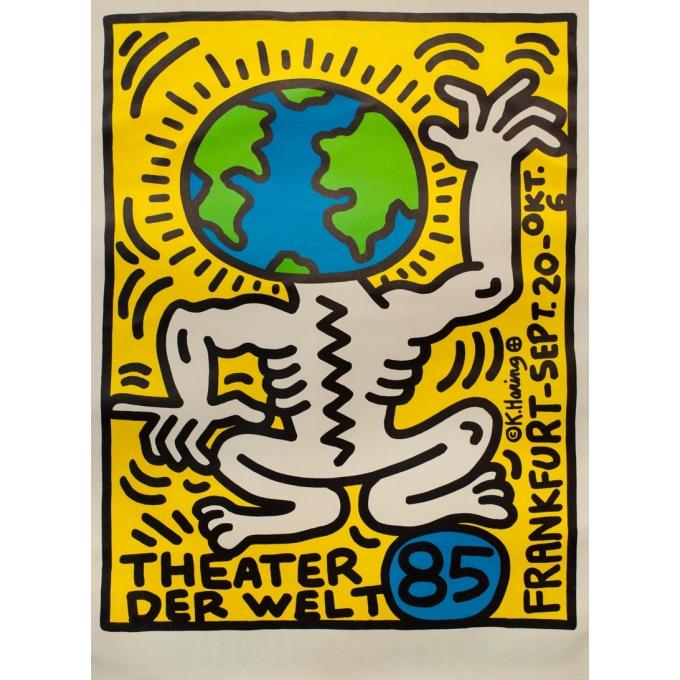Affiche ancienne d'exposition - Keith Haring - 1985 - Theater der Welt - 118 par 85.5 cm