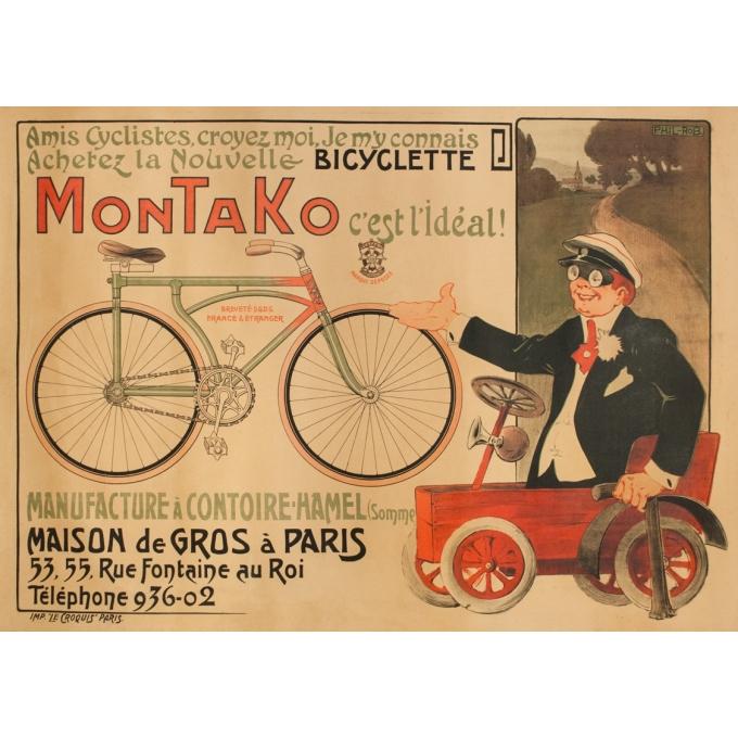 Affiche ancienne de publicité - Phil-Rob - Circa 1900 - Montako Cycle - 140 par 99.5 cm