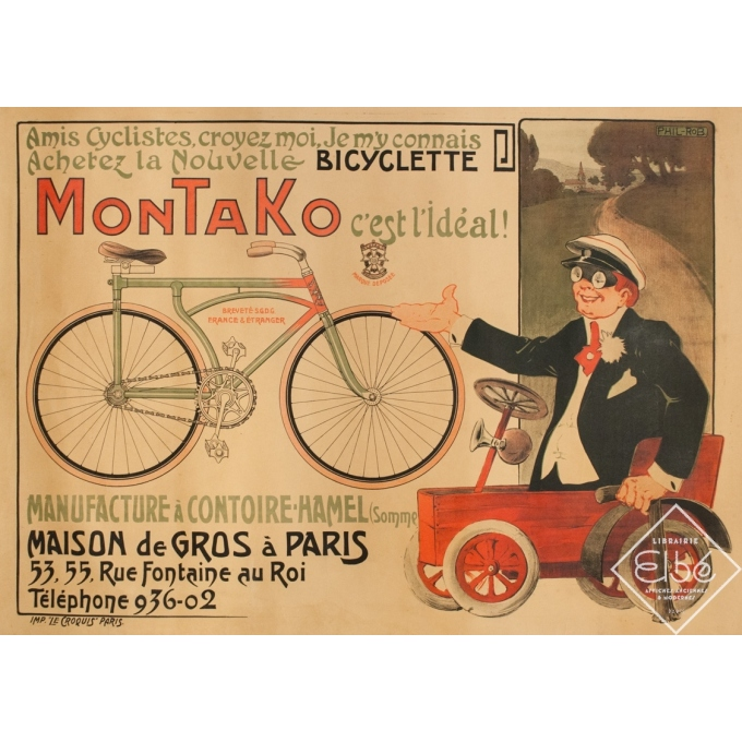 Vintage advertising poster - Phil-Rob - Circa 1900 - Montako Cycle - 55.1 by 39.2 inches
