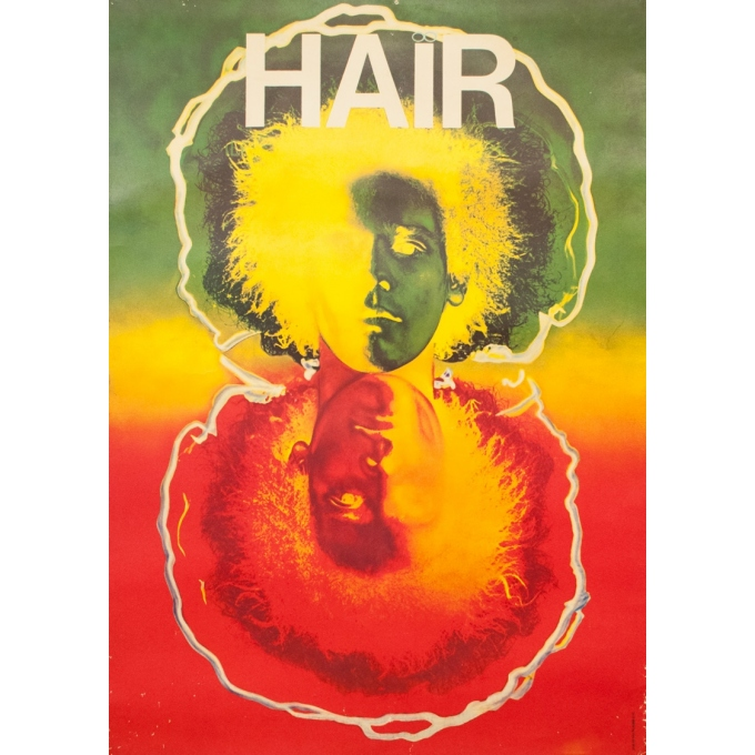 Vintage exhibition poster - Circa 1970 - Hair - 55.1 by 39.4 inches