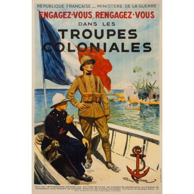 Affiche ancienne - Georges Scott - Circa 1930 - Engagez vous, Rengagez-vous dans les Troupes coloniales - 120 par 80 cm