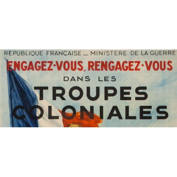Affiche ancienne - Georges Scott - Circa 1930 - Engagez vous, Rengagez-vous dans les Troupes coloniales - 120 par 80 cm - 2