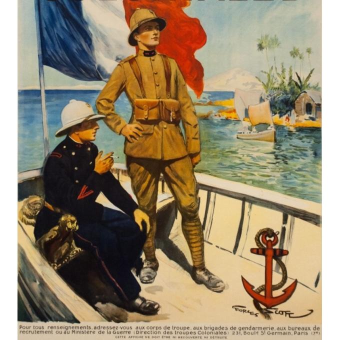 Affiche ancienne - Georges Scott - Circa 1930 - Engagez vous, Rengagez-vous dans les Troupes coloniales - 120 par 80 cm - 3