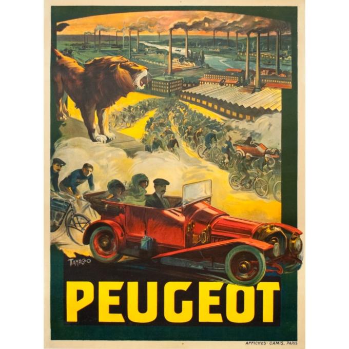 Affiche ancienne de publicité - Tamagno - 1910 - Peugeot Cycle automobile - 158 par 118.5 cm