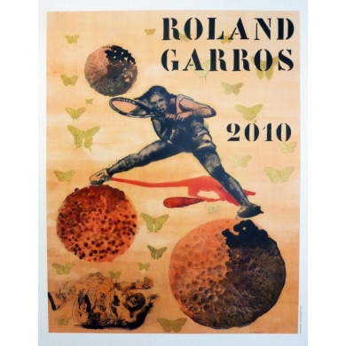 Original poster of Roland Garros 2010 by Nalini Malani Elbé Paris.
