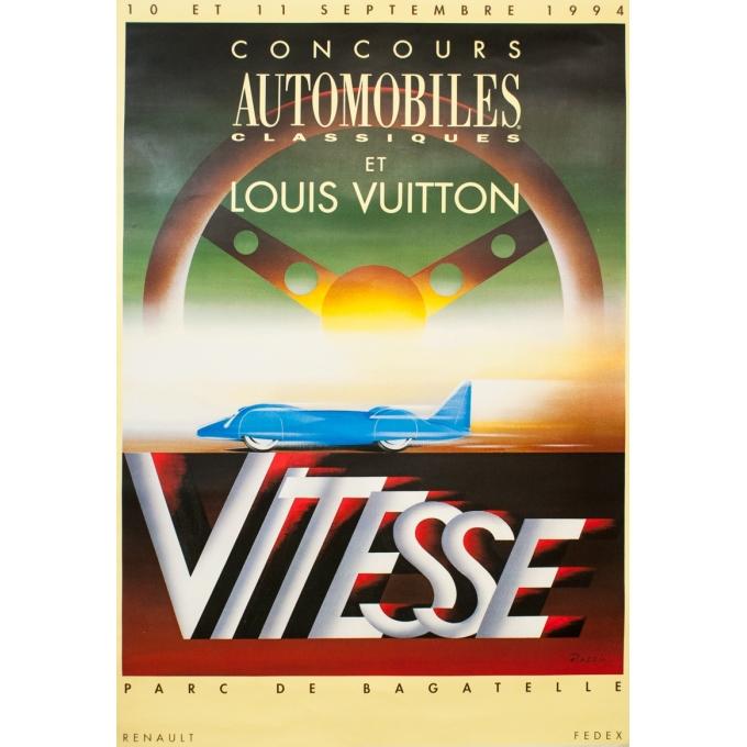 Affiche ancienne d'exposition - Razzia - Circa 1990 - Concours automobile Louis Vuitton - 169 par 116.5 cm