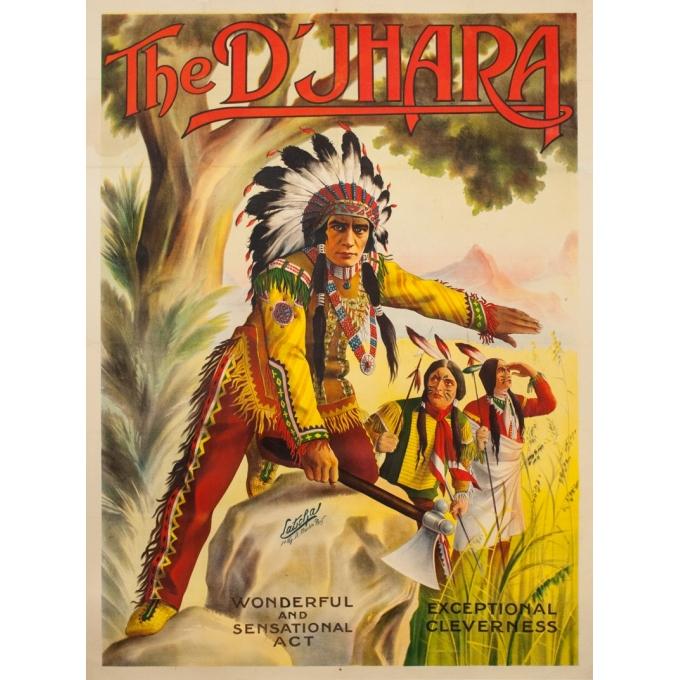 Affiche ancienne d'exposition - Latscha - Circa 1920 - The D'Jarha - 155 par 116 cm