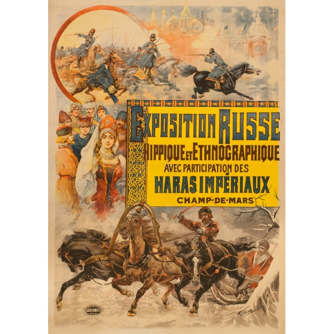 Vintage exhibition poster - Tamagno - 1900 - Expositon Russe Hippique Exposition Universelle - 54.7 by 39 inches