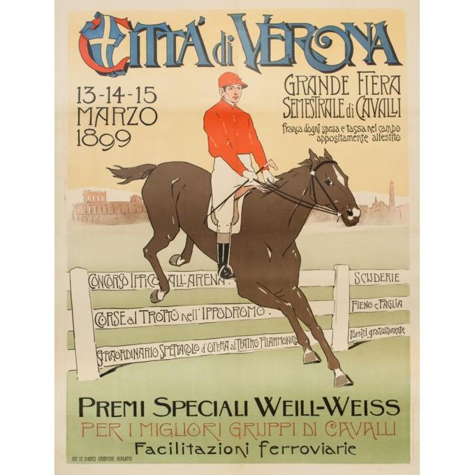 Vintage exhibition poster - 1899 - Grande Fête De Cavalerie - 51.2 by 39.8 inches