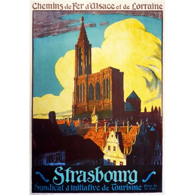 An original french vintage poster of Strasbourg. Elbé Paris.