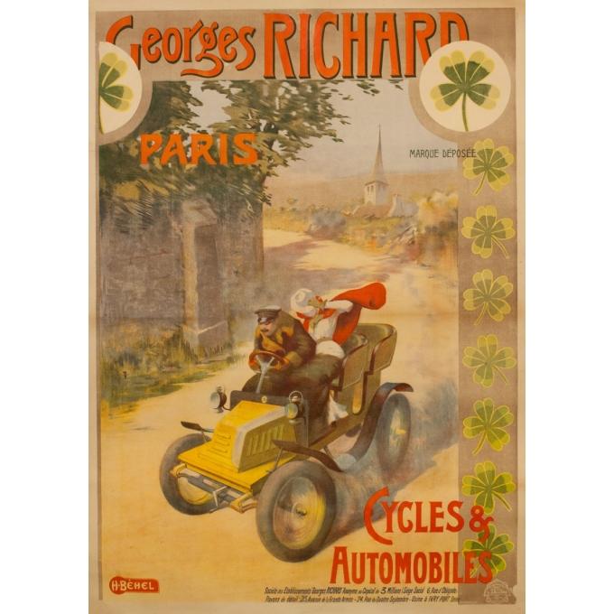 Affiche ancienne de publicité - H.Bèhel - 1910 - Cycles Et Automobiles Georges Richard - 144 par 97 cm