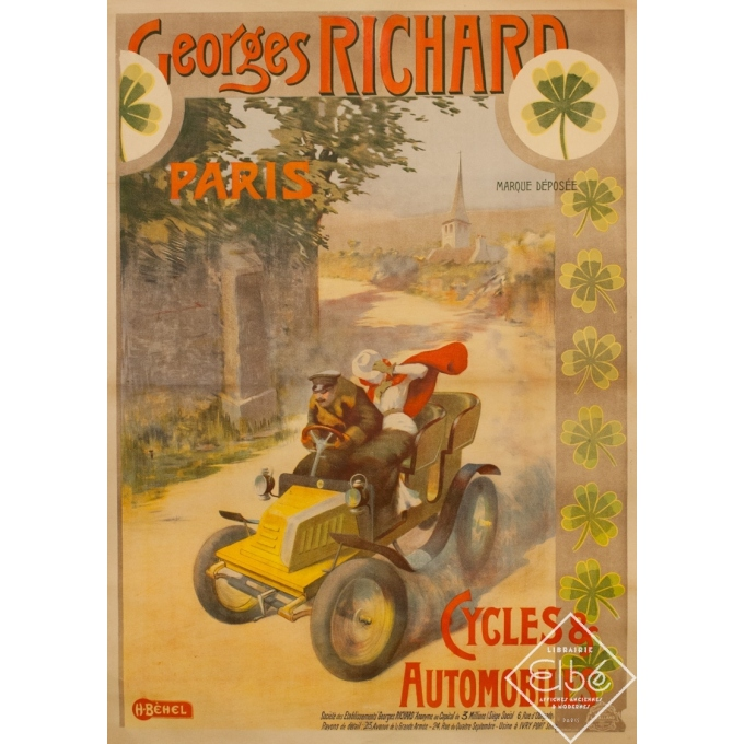 Vintage advertising poster - H.Bèhel - 1910 - Cycles Et Automobiles Georges Richard - 56.7 by 38.2 inches