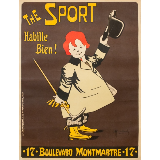 Vintage advertising poster - Zagnoli - 1900 - The Sport Habille Bien ! - 50.8 by 39 inches