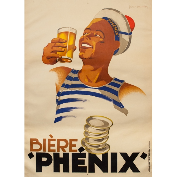 Vintage advertising poster - Léon Dupin - 1930 - Bière Phénix - 54.3 by 39.4 inches