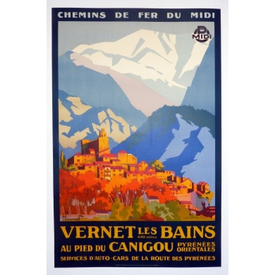 An original french vitnage poster of Vernet les Bains, south western France. Elbé Paris.