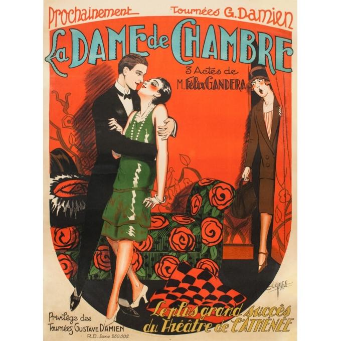 Affiche ancienne d'exposition - Cléris Frères - 1920 - Théâtre De L'Athénée - La Dame De Chambre - 154 par 113 cm