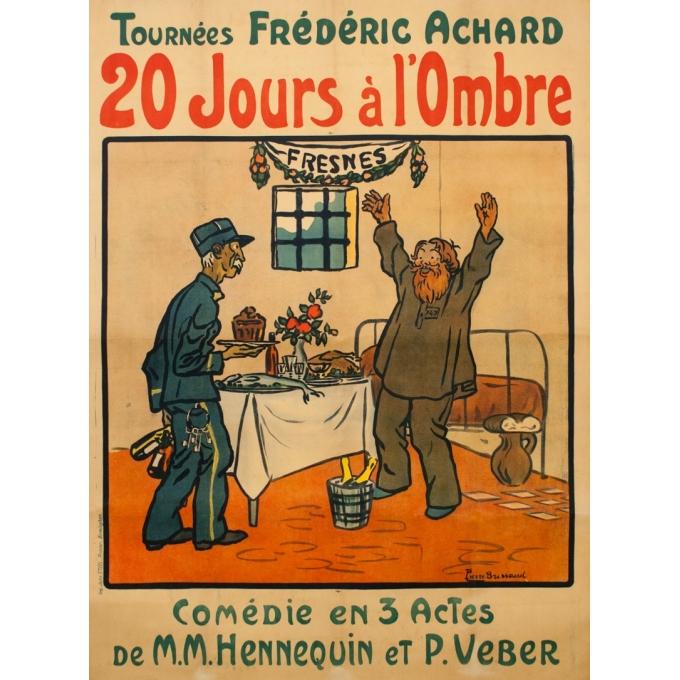 Affiche ancienne d'exposition - Pierre Brissaud - 1920 - 20 Jours À L'Ombre - 150 par 115 cm