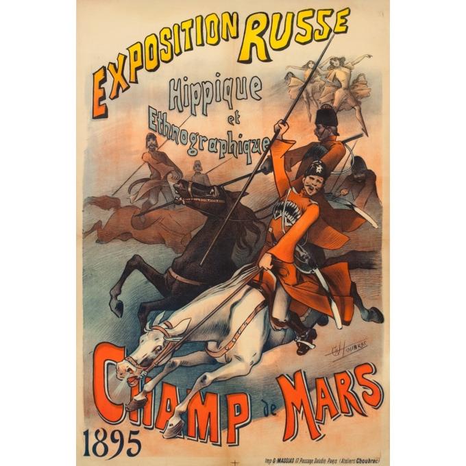 Vintage exhibition poster - Choubrac - 1895 - Exposition Russe Hippique Et Ethnographique - 47.2 by 31.9 inches