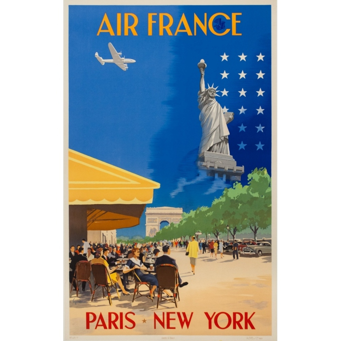 Vintage travel poster - Vincent Guerra - 1951 - Air France Paris New-York - 39.4 by 23.6 inches
