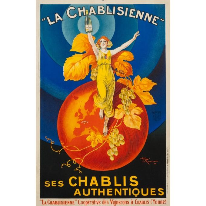 Vintage advertising poster - Henri Le monnier - 1926 - La Chablisienne ses chablis authentiques - 31.5 by 20.9 inches