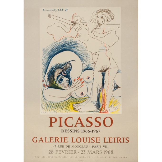 Vintage exhibition poster - Picasso - 1968 - Picasso Galerie Louis Leiris - 28.2 by 19.9 inches