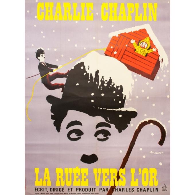 Original vintage movie poster - Leo Kouper - 1960 - La Ruée Vers L'Or Charlie Chaplin Tirage De 1960 - 63 by 47.2 inches