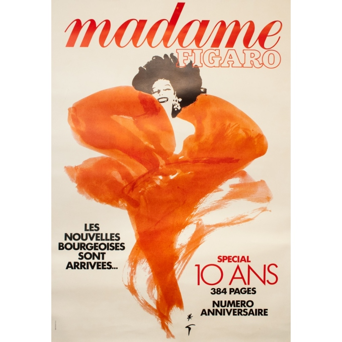 Vintage advertising poster - Gruau - Circa 1980 - Madame Figaro Couverture - 67.7 by 47.6 inches