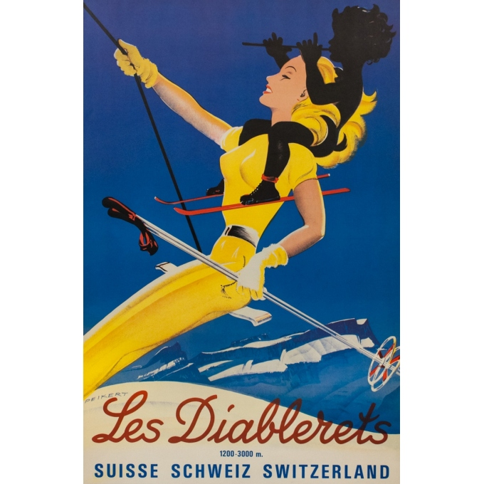 Vintage travel poster - Peikert - Circa 1970 - Les Diablerets - Suisse - 38.6 by 25.2 inches