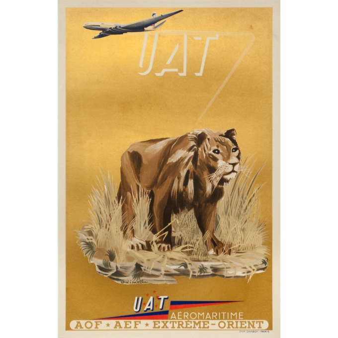 Vintage travel poster - Toni Mella - 1960 - Aeromaritime UAT Lion - 22.6 by 15 inches