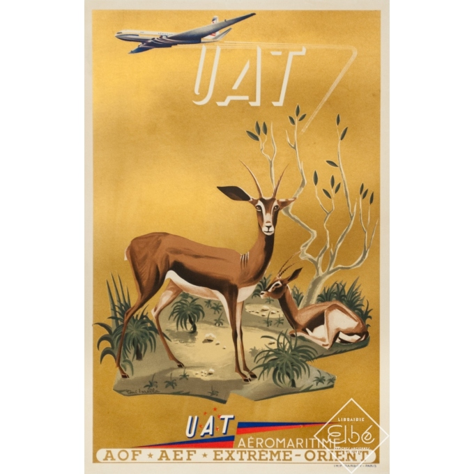 Vintage travel poster - Toni Mella - 1960 - Aeromaritime UAT Antilope - 22.6 by 15 inches