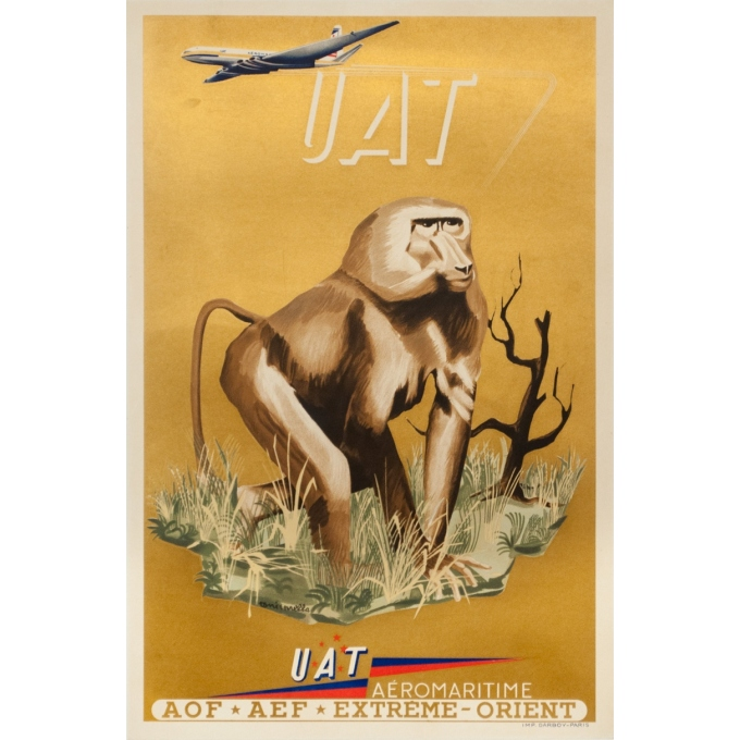Vintage travel poster - Toni Mella - 1960 - Aeromaritime UAT Babouin - 22.6 by 15 inches