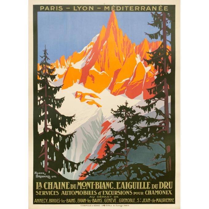 Vintage travel poster - Roger Broders - 1924 - La chaine du Mont- Blanc l'Aiguille du Dru - 41.9 by 30.7 inches