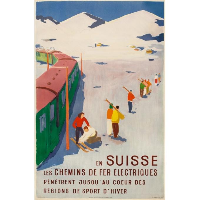 Vintage travel poster - Hans Jegerlehmen - 1950 - En Suisse - chemins de fer électriques - 39 by 25.4 inches