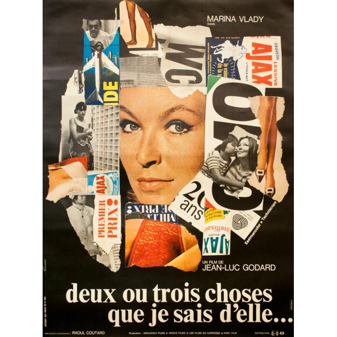 Affiche ancienne de cinéma - Ferracci - 1967 - Deux Ou Trois Choses Que Je Sais D'Elle - Jean Luc Godard - 160 par 120 cm