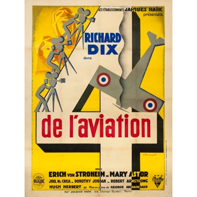 Affiche ancienne de cinéma - A. Brunyet - 1932 - Quatre De L'Aviation - Richard Dix - George Archaimbaud - 160 par 120 cm
