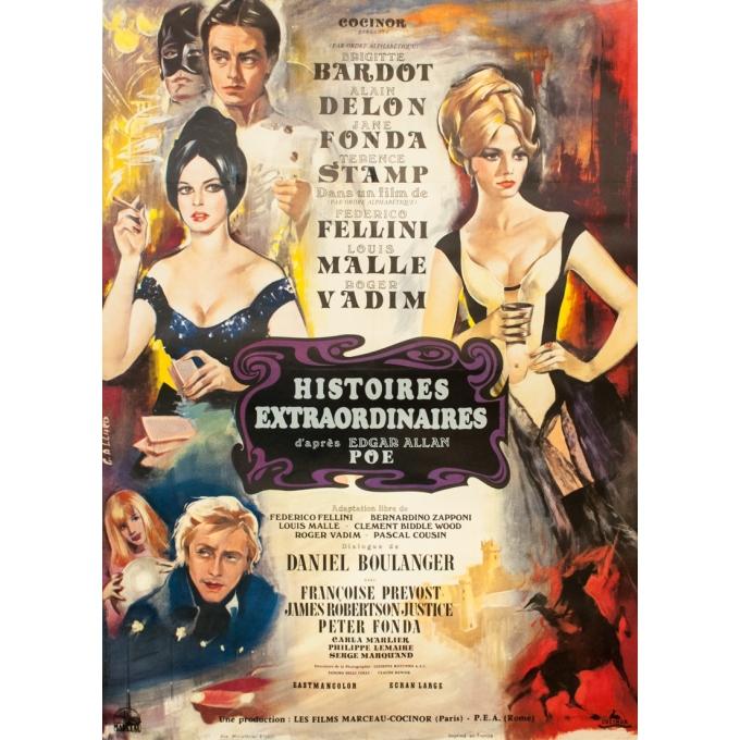 Affiche ancienne de cinéma - G. Allard - 1968 - Histoires Extraordinaires d'après Edgar Allan Poe - 160 par 120 cm