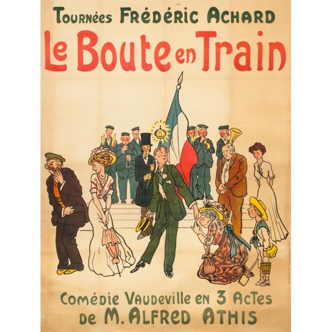 Affiche ancienne originale - Circa 1920 -  Le Bout En Train Comédie - Tournées Frédéric Achard - 156 par 117 cm