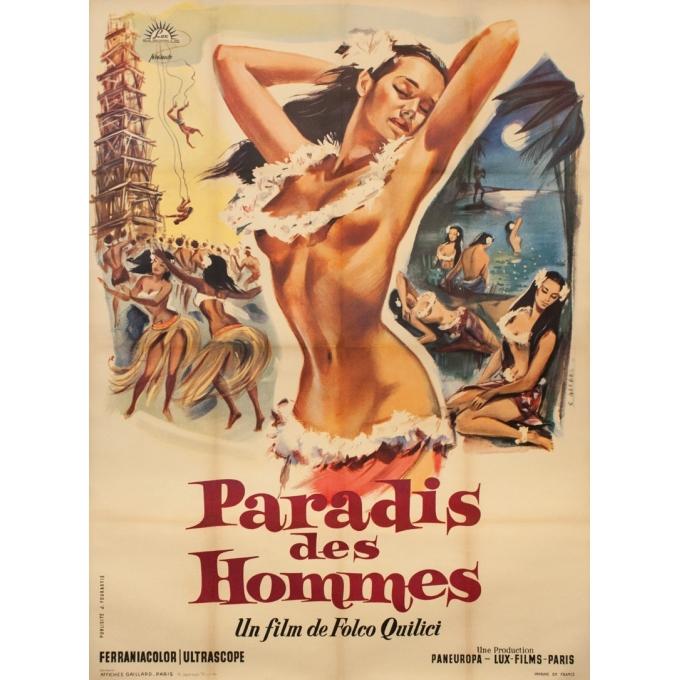 Affiche ancienne de cinéma - G. Allard - 1957 - Le Paradis Des Hommes - Folco Quilici - 160 par 120 cm