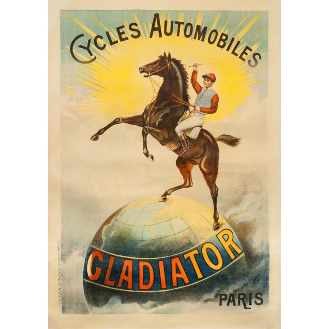 Affiche ancienne de publicité - Digneres - Circa 1910 -  Cycles Automobiles Gladiator Paris - 162 par 115 cm