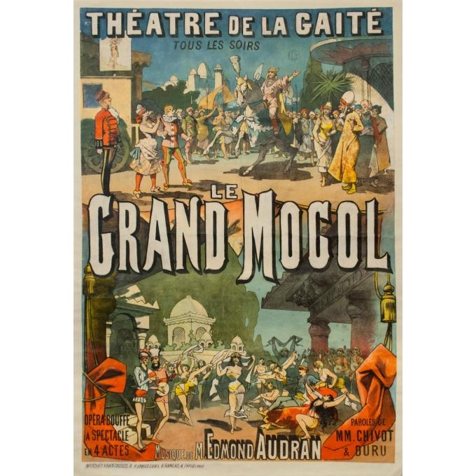 Affiche ancienne originale - Circa 1884 -  Théatre De La Gaité - Le Grand Mogol - 129 par 89 cm