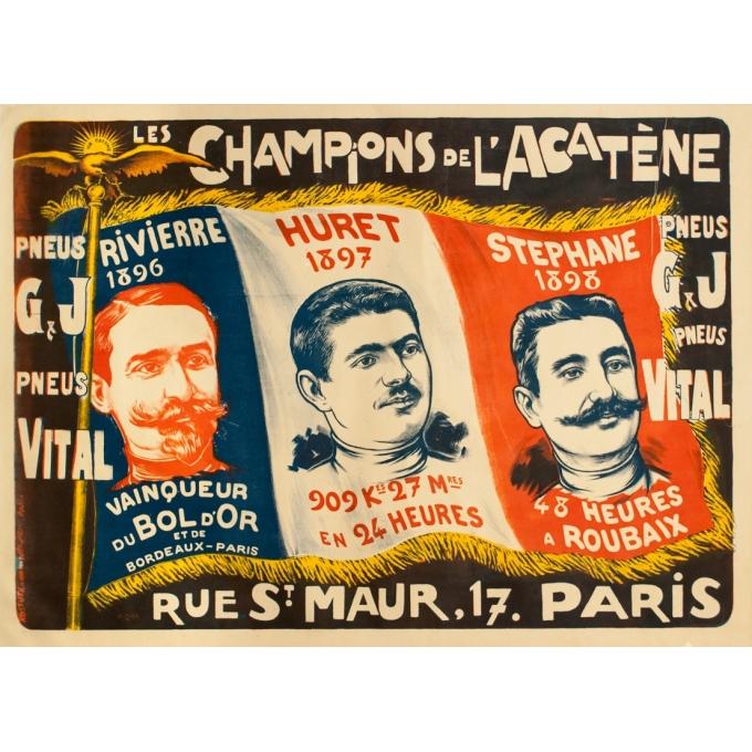 Affiche ancienne de publicité - F.Icham - Circa 1900 - Les Champions De L'Acatène - 130 par 94 cm