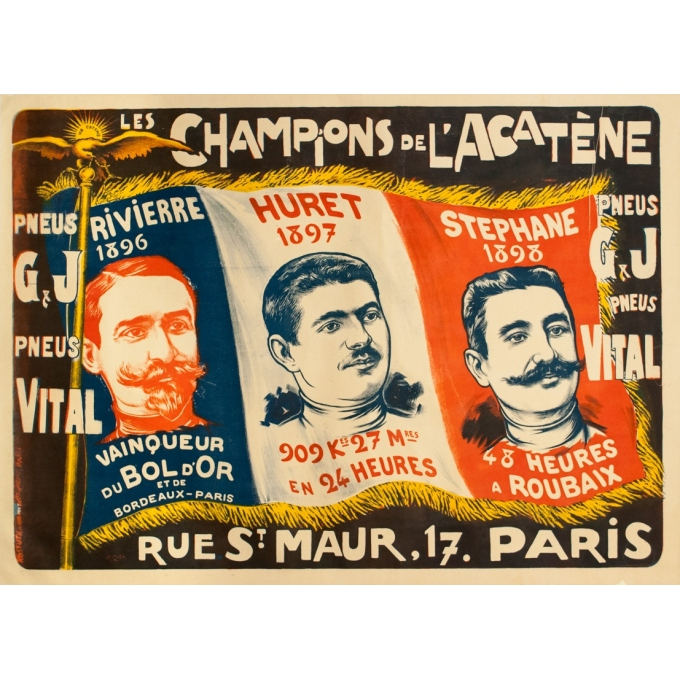 Vintage advertising poster - F.Icham - Circa 1900 - Les Champions De L'Acatène - 51.2 by 37 inches