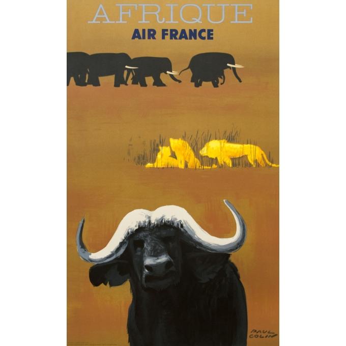 Affiche ancienne de voyage - Paul Colin - 1956 - Air France Afrique - 100.5 par 62.5 cm
