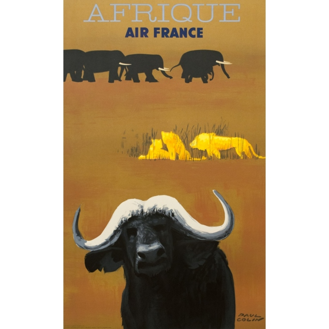 Vintage travel poster - Paul Colin - 1956 - Air France Afrique - 39.6 by 24.6 inches
