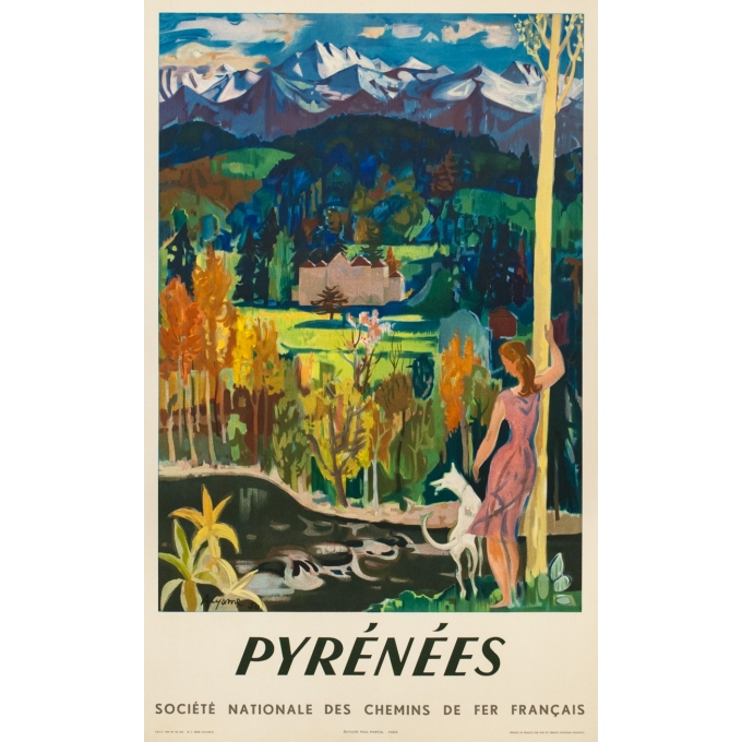 Vintage travel poster - Acyame - 1951 - Pyrénées Sncf - 39.2 by 24.4 inches