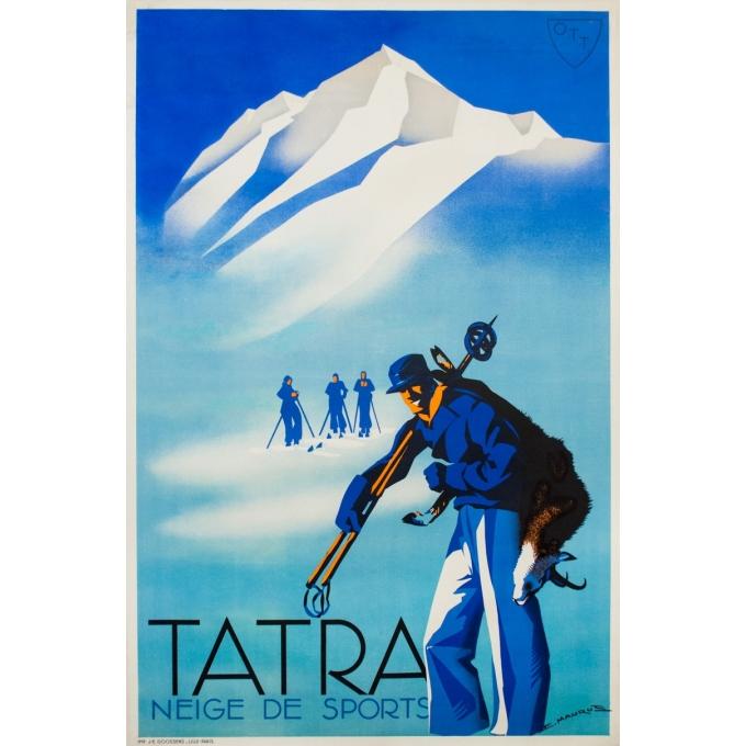 Affiche ancienne de voyage - E. Maurus - Circa 1930 - Tatra Neige De Sports - 150 par 101 cm