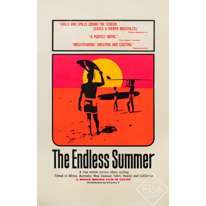 Original vintage movie poster - John Hamersveld - 1964 - The Endless Summer- Version Américaine- One Sheet - 41.3 by 27 inches