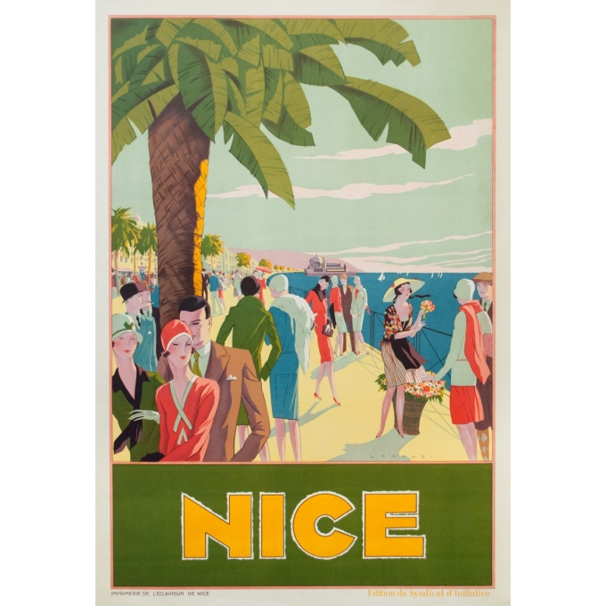 Vintage travel poster - Lorenzi - Circa 1930 - Nice - 45.3 by 31.5 inches