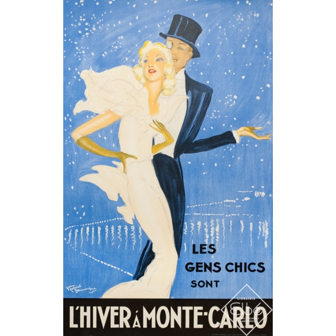 Vintage travel poster - Domergue - Circa 1930 - L'Hiver A Montecarlo - 39 by 24.4 inches